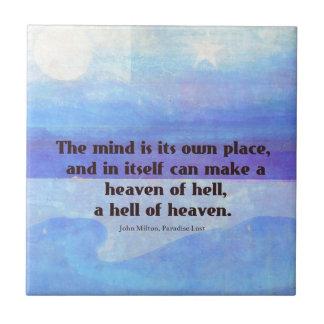 Inspirational Milton quote Paradise Lost Tile