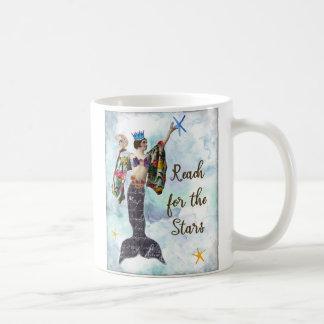 inspirational mug reach for the stars mermaid