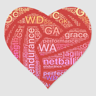 Inspirational Netball Positions Heart Design Heart Sticker