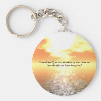 Inspirational Orange Sunset Over Calm Sea Keyring Basic Round Button Keychain