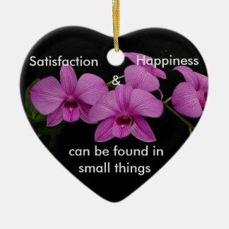 Inspirational Orchid Ceramic Heart Ornament