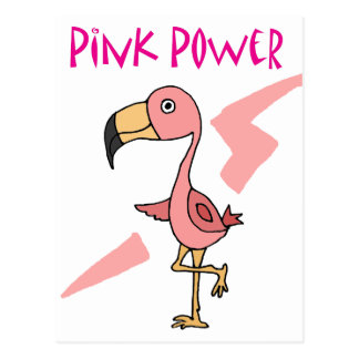 Inspirational Pink Power Flamingo Bird Postcard