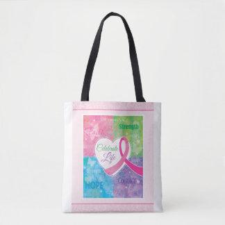 Inspirational Pink Ribbon Tote Bag