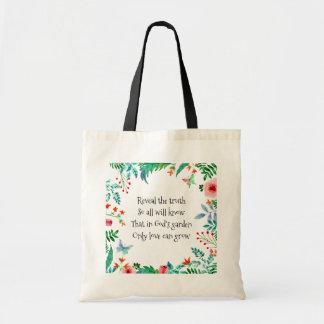 Inspirational Poem God's Garden Floral Tote Bag
