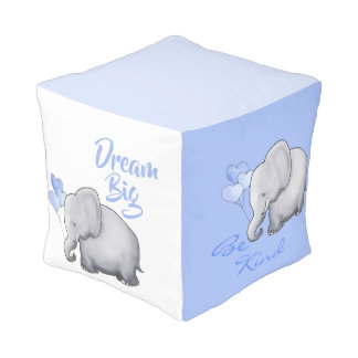 Inspirational Poetic Baby Blue Nursery Elephants Pouf