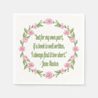 Inspirational Quote About Books by Jane Austen Paper Napkin