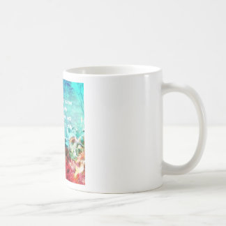 Inspirational quote among corals coffee mug