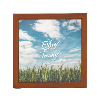 """Inspirational  Quote """"Enjoy Today""""  Green Field Bl Desk Organizers"""