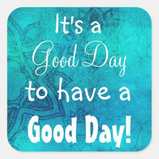 Inspirational Quote Good Day  Blue Mandala Sticker