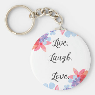 Inspirational Quote Key Chain, Live Love Laugh Art Basic Round Button Keychain
