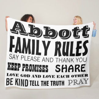 Inspirational Quote Life Family Rules Fleece Blanket