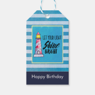 Inspirational Quote Lighthouse Typography Birthday Gift Tags