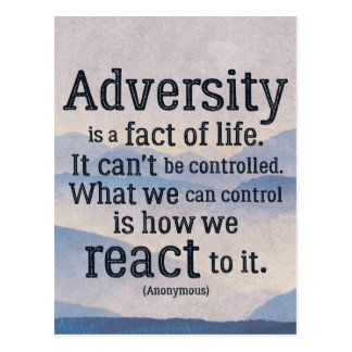 Inspirational Quote on Adversity Postcard