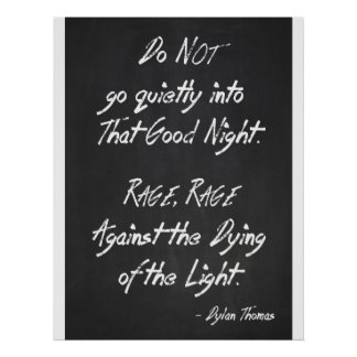 Inspirational Quote Poster - Dylan Thomas - Rage