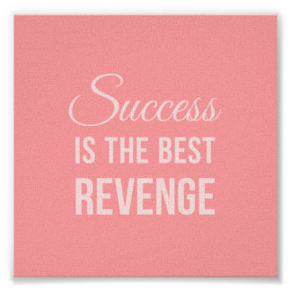 Inspirational Quote Poster Success Pink Posters