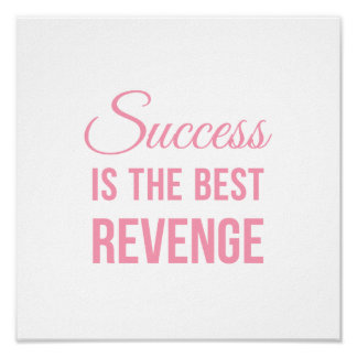Inspirational Quote Poster Success White Pink Poster