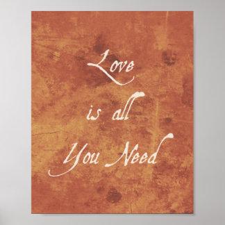 Inspirational Quote Print Love Is Autumn Antique