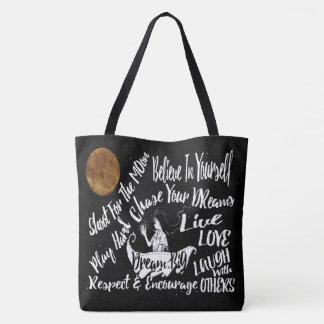 Inspirational Quote Stars Moon girl ship tote bag