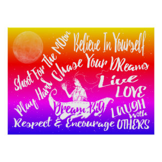 Inspirational Quote Stars @ Night wall poster