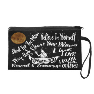 Inspirational Quote Stars Wristlet clutch purse