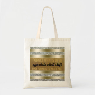 Inspirational Quote | Typography Gold Silver Tote Bag