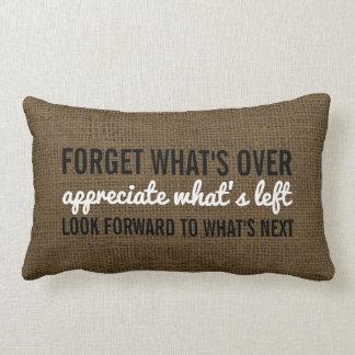 Inspirational Quote Typography | Rustic Burlap Lumbar Pillow