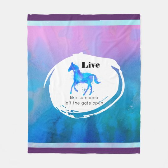 Inspirational Quote with a Horse Running Free Fleece Blanket