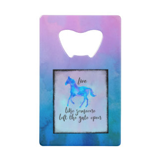 Inspirational Quote with a Horse Running Free Wallet Bottle Opener