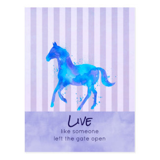 Inspirational Quote with a Wild Running Horse Postcard