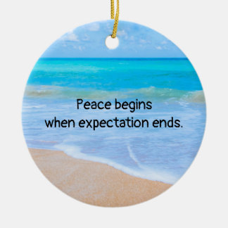 Inspirational Quote with Tropical Beach Scene Ceramic Ornament