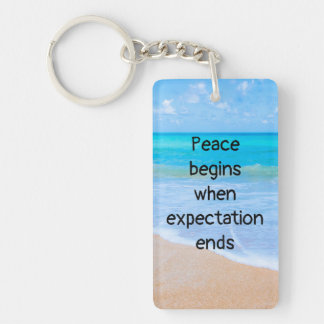 Inspirational Quote with Tropical Beach Scene Keychain