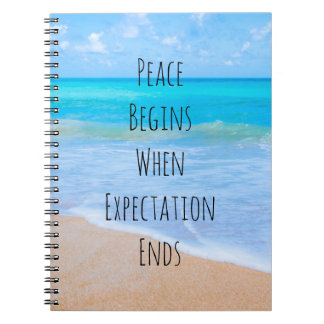 Inspirational Quote with Tropical Beach Scene Spiral Notebook