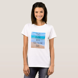 Inspirational Quote with Tropical Beach Scene T-Shirt
