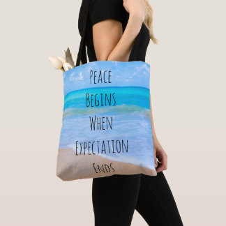 Inspirational Quote with Tropical Beach Scene Tote Bag
