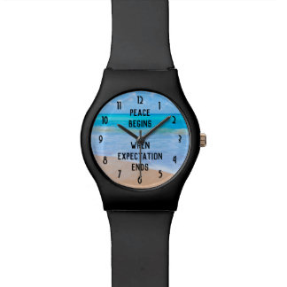Inspirational Quote with Tropical Beach Scene Watch