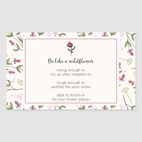 Inspirational Quote With Wildflower Pattern Sticker