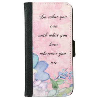 Inspirational Quote with Wildflowers Typography iPhone 6 Wallet Case