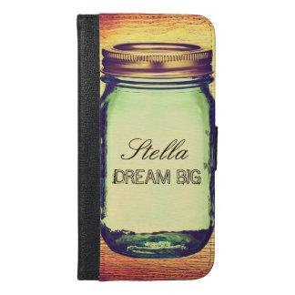 Inspirational Quotes Dream Big on Retro Mason Jar iPhone 6/6s Plus Wallet Case