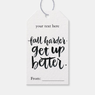 Inspirational Quotes: Fall harder. Get up better. Pack Of Gift Tags