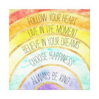 Inspirational Quotes Rainbow Canvas Print
