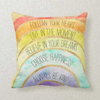 Inspirational Quotes Rainbow Throw Pillow