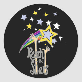 Inspirational Reach for the Stars Abstract Art Round Sticker
