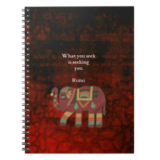 Inspirational Rumi What You Seek Quote Notebook