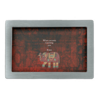 Inspirational Rumi What You Seek Quote Rectangular Belt Buckle