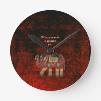 Inspirational Rumi What You Seek Quote Round Clock