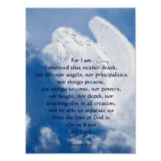 Inspirational Scripture Angel In Clouds, Romans Poster