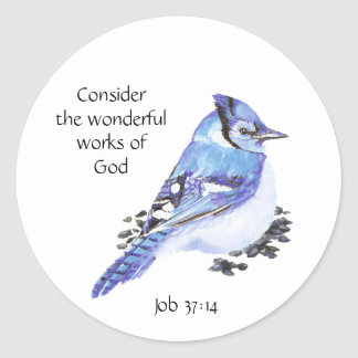 Inspirational Scripture Quote Watercolor Bird Art Classic Round Sticker