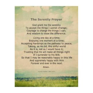 inspirational serenity prayer quote on wood panel