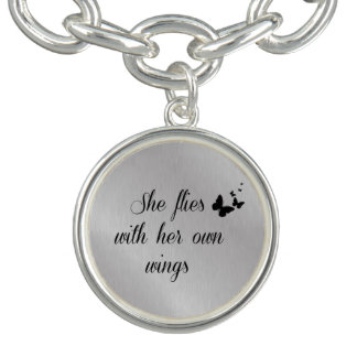 Inspirational She Flies with her own Wings Quote Charm Bracelet