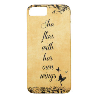 Inspirational She Flies with her own Wings Quote iPhone 8/7 Case